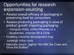 opportunities for research expansion sourcing