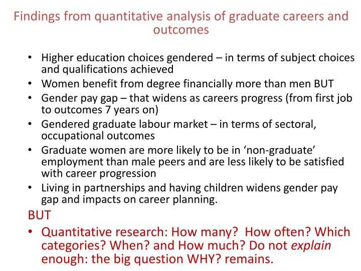 Findings from quantitative analysis of graduate careers and outcomes