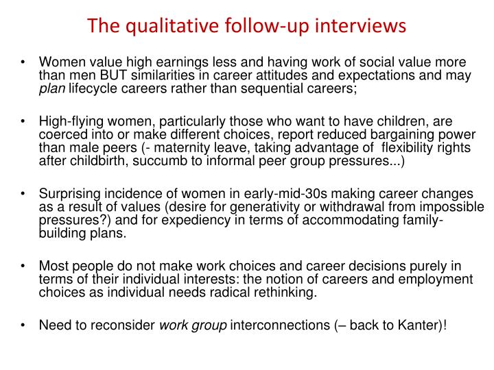 The qualitative follow-up interviews