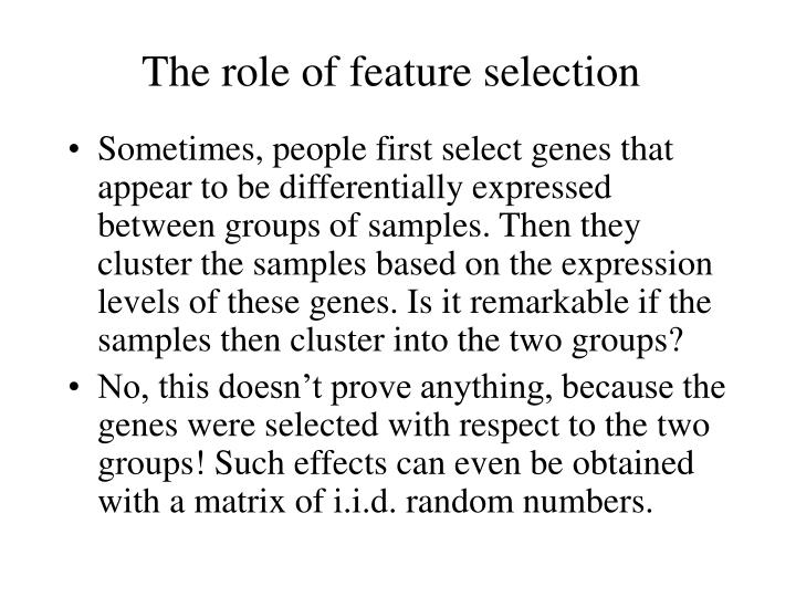 The role of feature selection