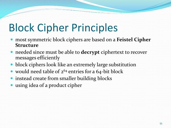 Block Cipher Principles