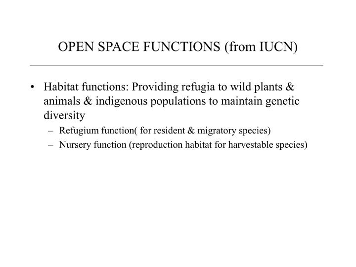 Open space functions from iucn1