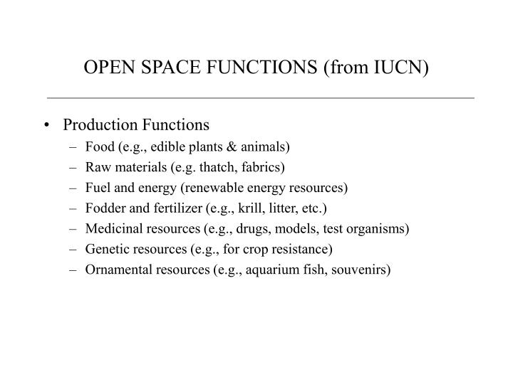 Open space functions from iucn2