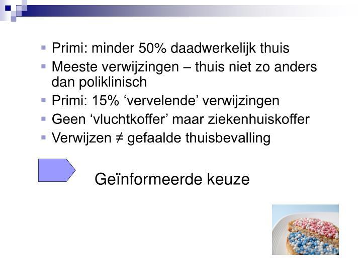 Primi: minder 50% daadwerkelijk thuis