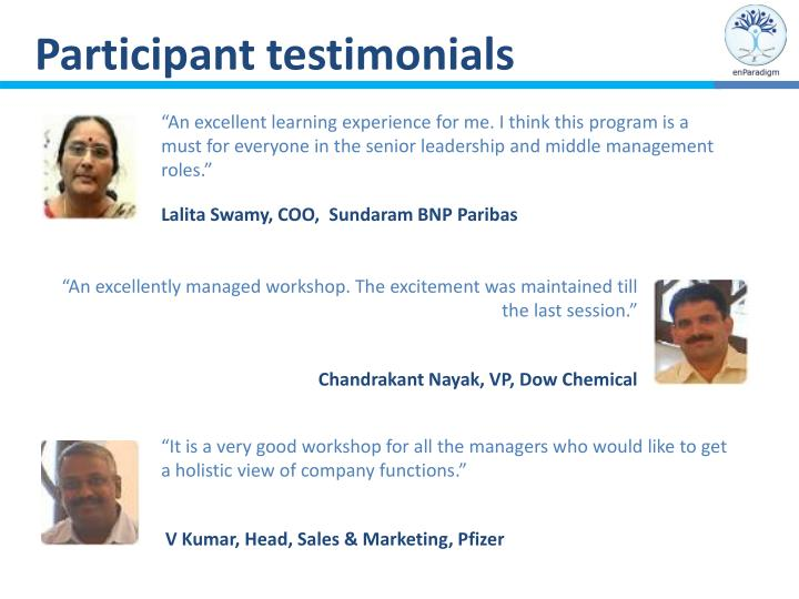 Participant testimonials