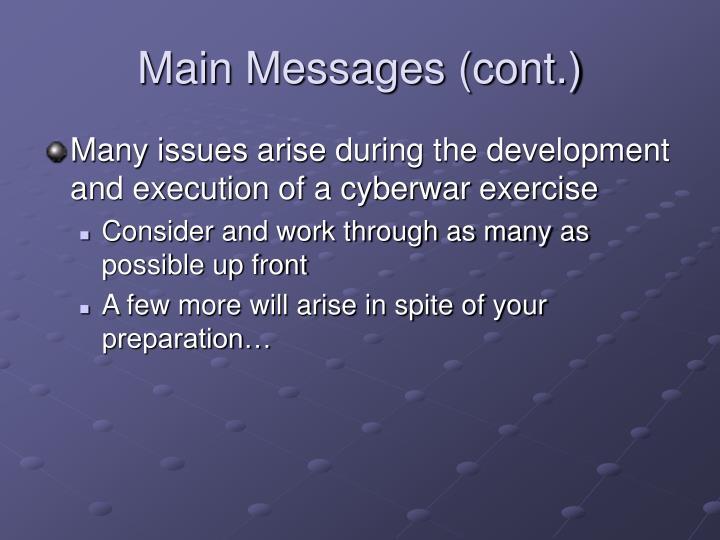 Main Messages (cont.)