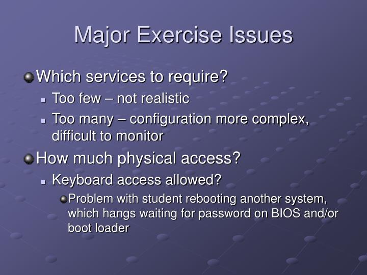 Major Exercise Issues