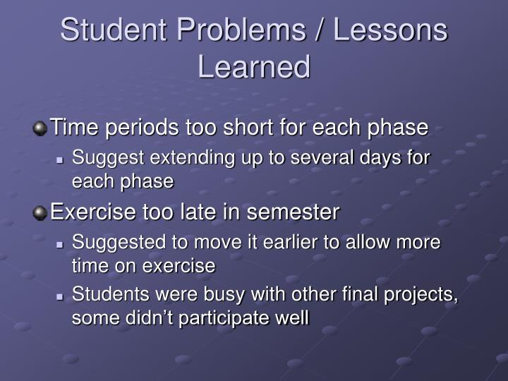 Student Problems / Lessons Learned