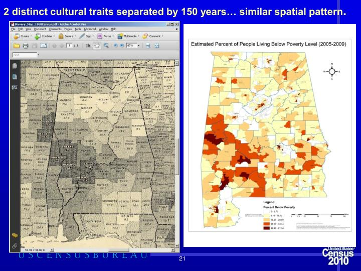 2 distinct cultural traits separated by 150 years… similar spatial pattern
