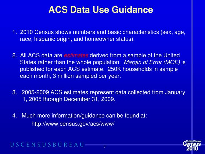 ACS Data Use Guidance