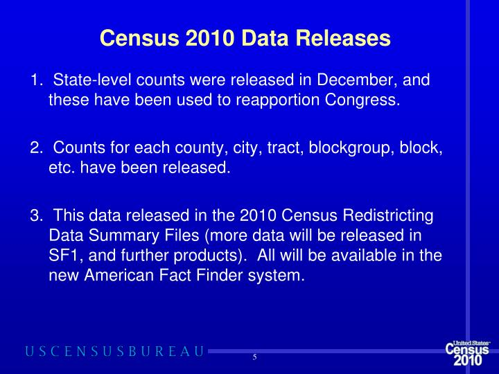 Census 2010 Data Releases