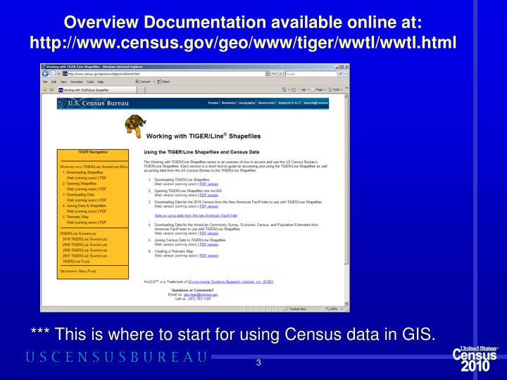Overview documentation available online at http www census gov geo www tiger wwtl wwtl html