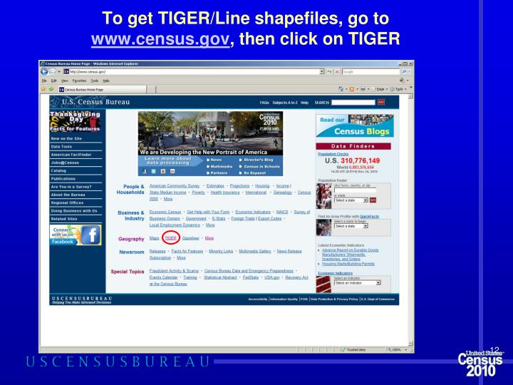 To get TIGER/Line shapefiles, go to
