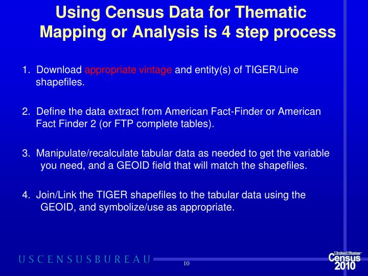 Using Census Data for Thematic Mapping or Analysis is 4 step process