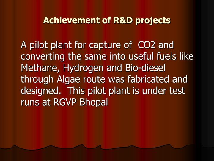 Achievement of R&D projects