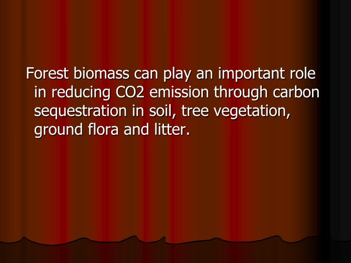Forest biomass can play an important role in reducing CO2 emission through carbon sequestration in soil, tree vegetation, ground flora and litter.
