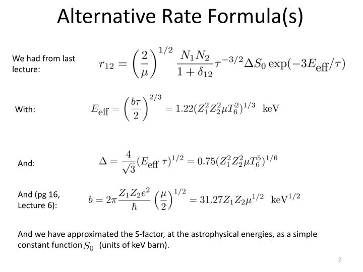 Alternative rate formula s