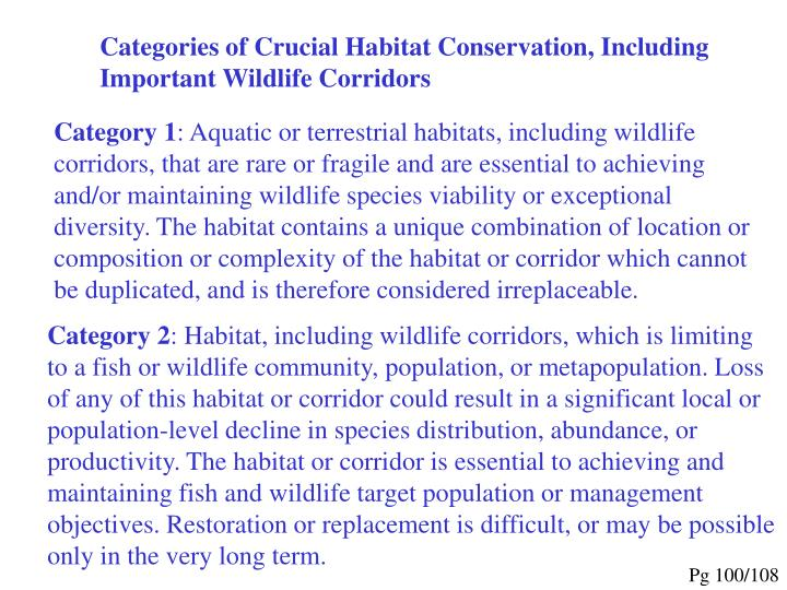 Categories of Crucial Habitat Conservation, Including Important Wildlife Corridors
