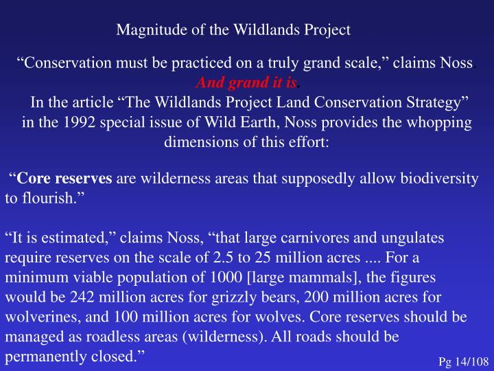 Magnitude of the Wildlands Project