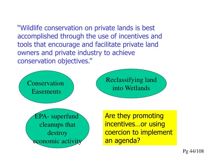 """Wildlife conservation on private lands is best accomplished through the use of incentives and tools that encourage and facilitate private land owners and private industry to achieve conservation objectives."""