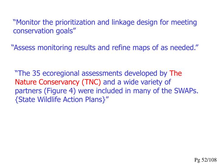 """Monitor the prioritization and linkage design for meeting conservation goals"""