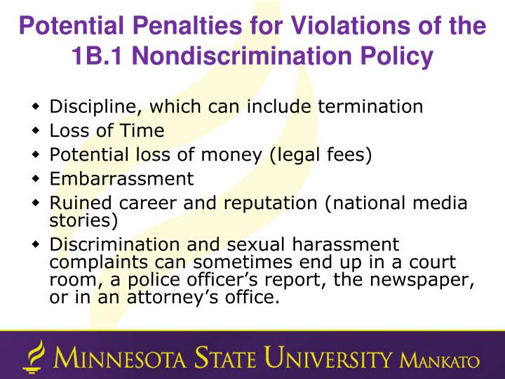 Potential Penalties for Violations of the 1B.1 Nondiscrimination Policy