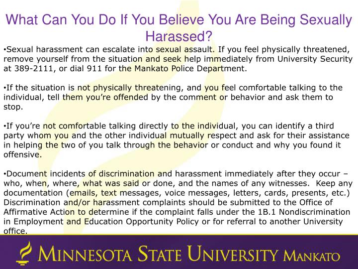What Can You Do If You Believe You Are Being Sexually Harassed?