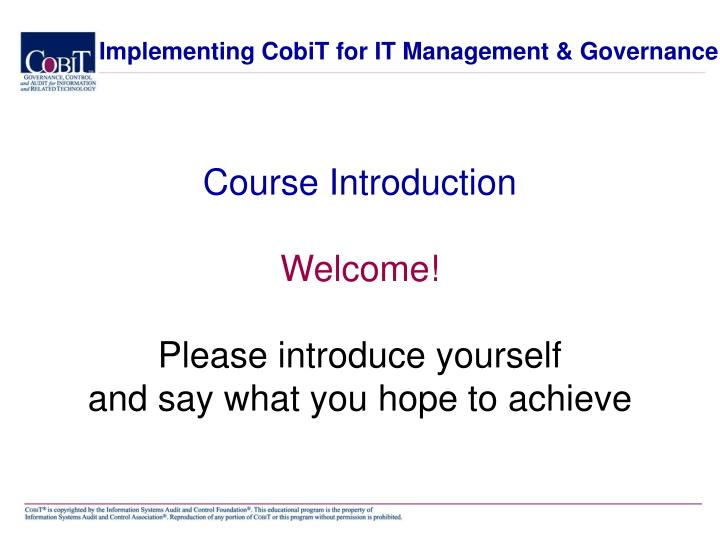 Implementing CobiT for IT Management & Governance