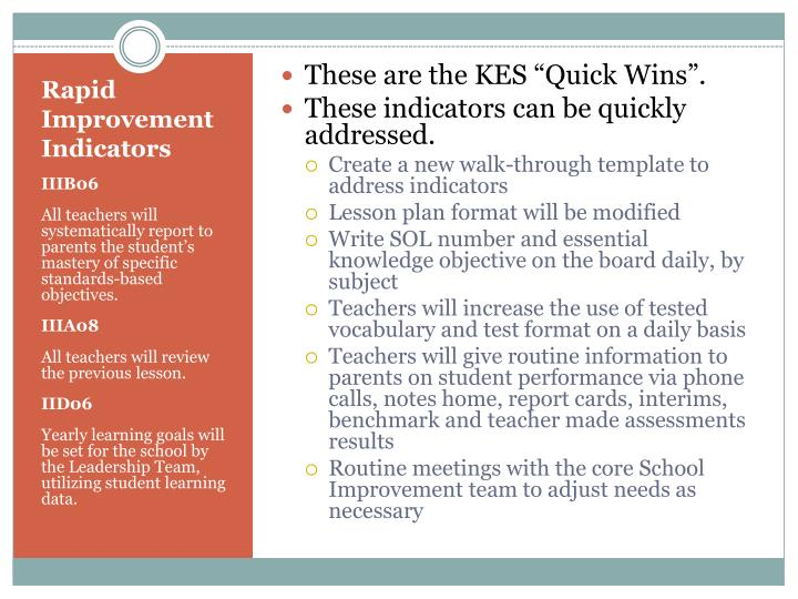 "These are the KES ""Quick Wins""."