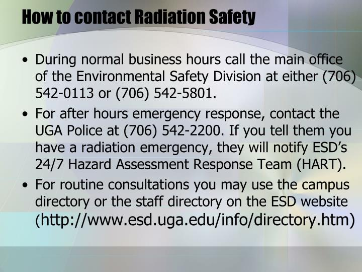 How to contact Radiation Safety