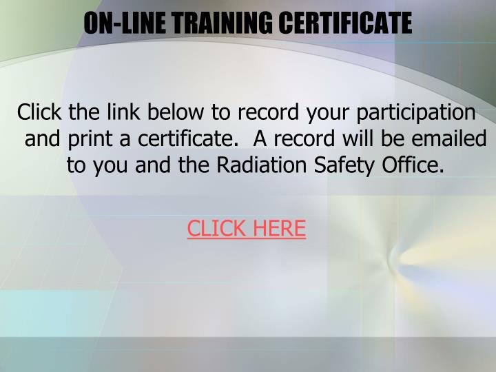ON-LINE TRAINING CERTIFICATE