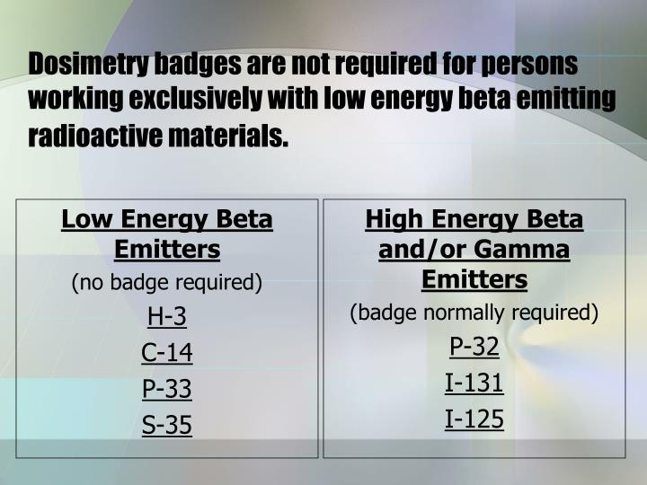 Low Energy Beta Emitters