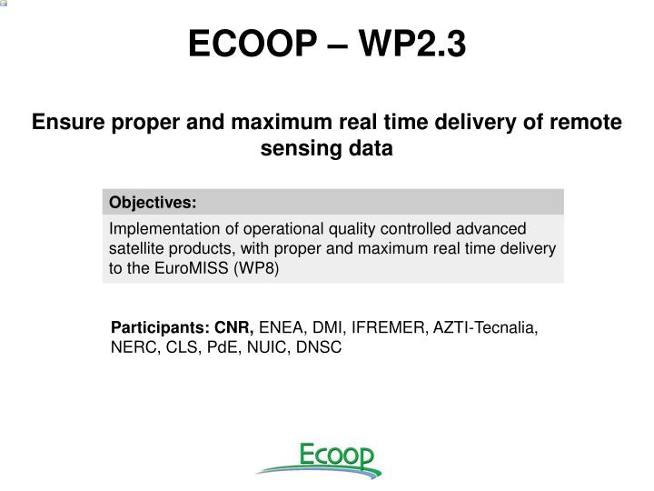 ECOOP – WP2.3