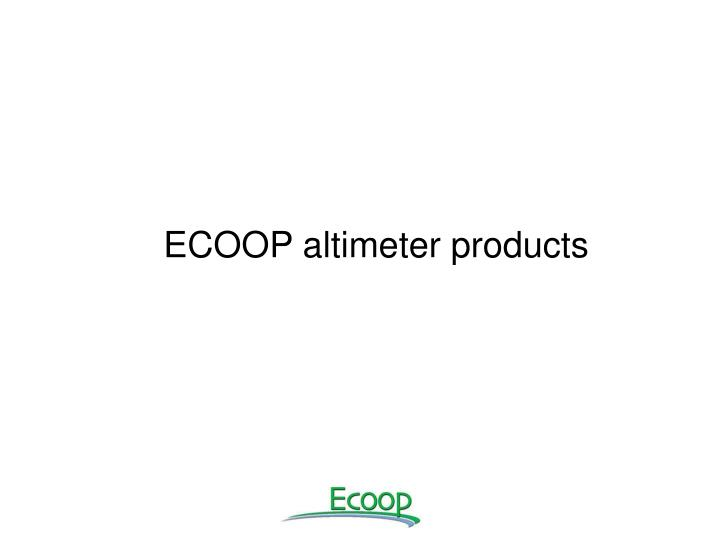 ECOOP altimeter products