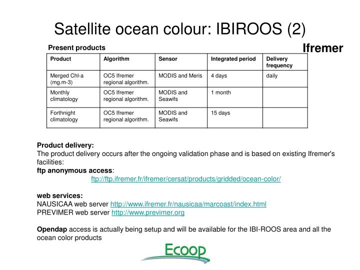 Satellite ocean colour: IBIROOS (2)