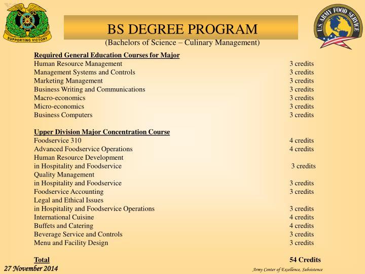 BS DEGREE PROGRAM