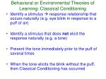 behavioral or environmental theories of learning classical conditioning