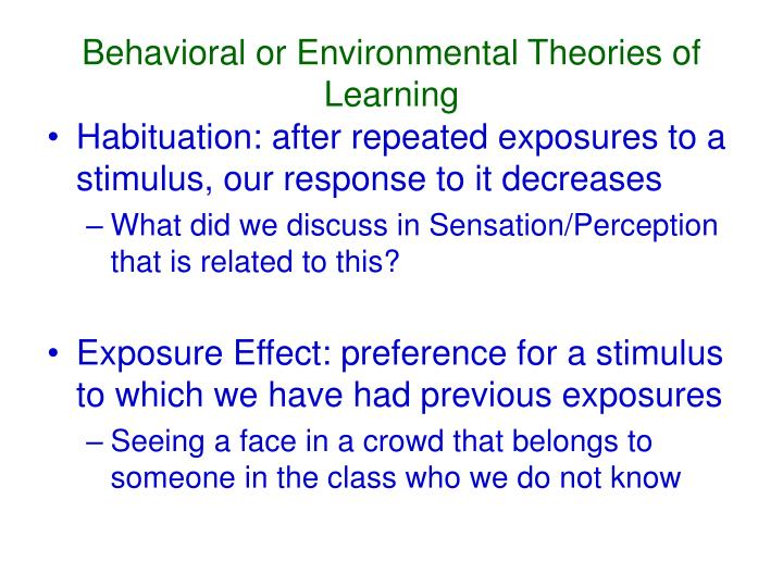 Behavioral or Environmental Theories of Learning