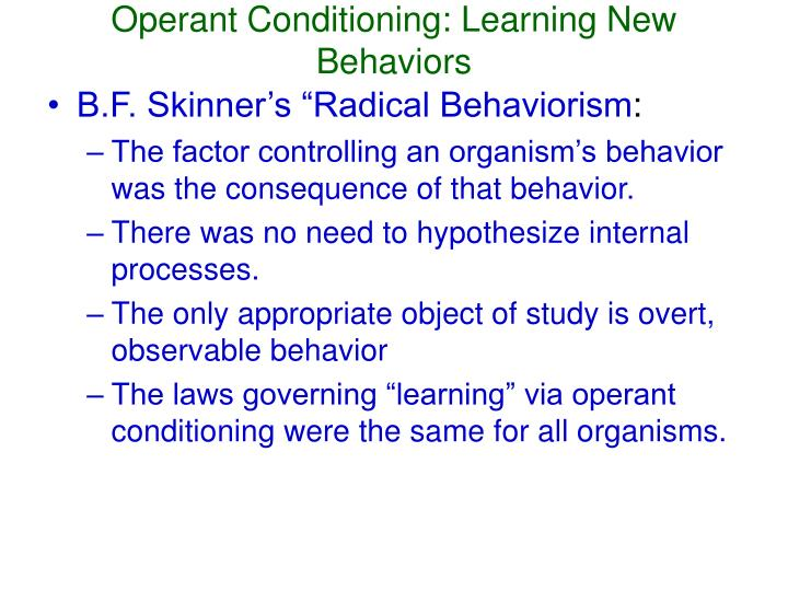 Operant Conditioning: Learning New Behaviors