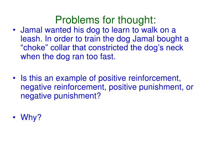 Problems for thought: