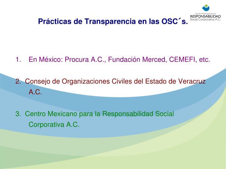 Prácticas de Transparencia en las OSC´s.