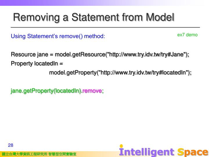Removing a Statement from Model