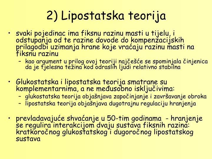 2) Lipostatska teorija