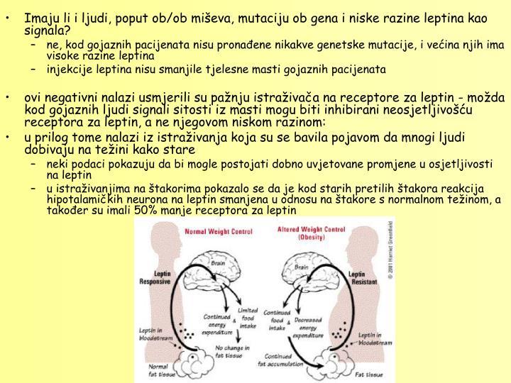 Imaju li i ljudi, poput ob/ob mieva, mutaciju ob gena i niske razine leptina kao signala?