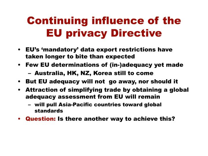 Continuing influence of the EU privacy Directive