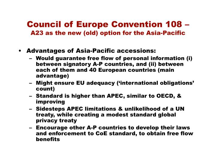 Council of Europe Convention 108 –