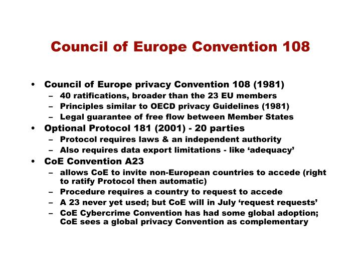 Council of Europe Convention 108