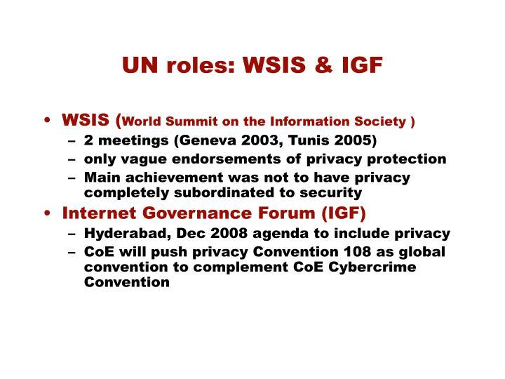 UN roles: WSIS & IGF