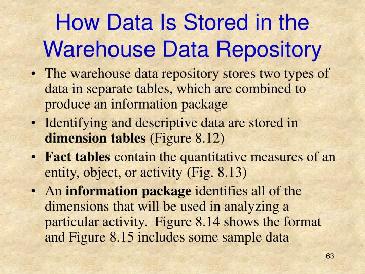 How Data Is Stored in the Warehouse Data Repository