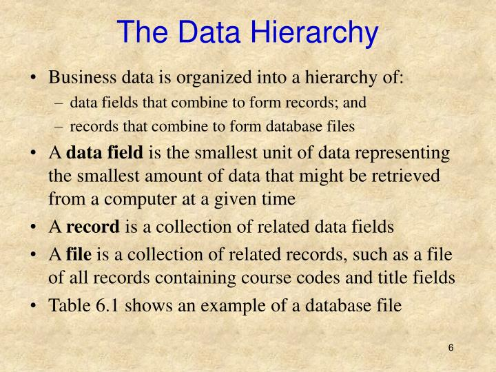 The Data Hierarchy